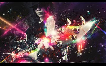 lights, neon, girl, electric guitar, sparks, hat