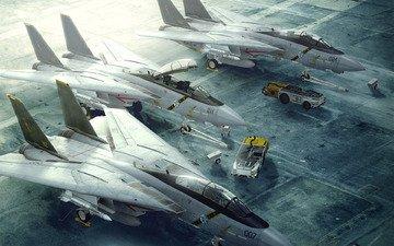 полоса, истребитель, реактивный, f-14, взлетная, погрузчики, котяра