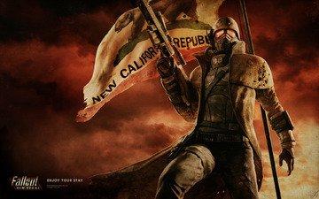 флаг, винтовка, солдат, броня, fallout, new vegas, ncr