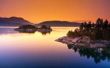 вода, озеро, горы, природа, дерево, закат, пейзаж, камень, остров, канада