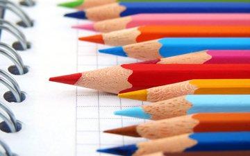 цвета, карандаши, лист, блокнот