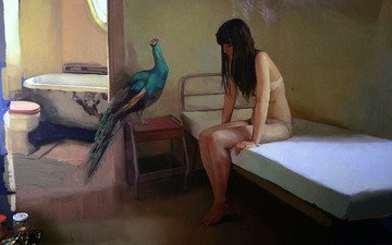 девушка, квартира, картина, грусть, комната, попугай, ванна, унитаз