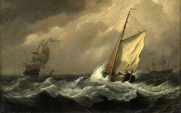 storm, wave, picture, sea, ships, painting, sailors