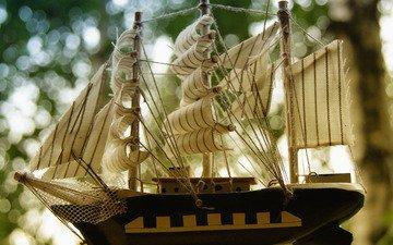корабль, цвет, паруса, статуетка