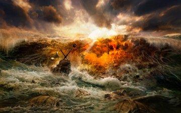 буря, волны, кораблекрушение