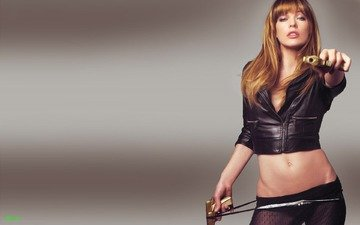 weapons, black, leather, milla jovovich