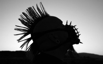 чб, шипы, борода, панк, ирокез, намордник, туннели, pablo wallpaper by upondeathwish