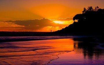 облака, берег, обои, пейзаж, пляж, человек, вечернее, sunsets, sundown, берег моря