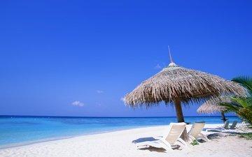 небо, вода, берег, море, песок, пляж, пейзажи, лето, пальмы, океан, отдых, лежаки, жара, шезлонги, летние обои, beach wallpapers, летнее, океана