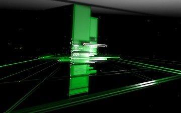 зелёный, черный, пластины