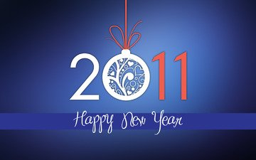 новый год, шар, цифры, поздравление, лента, праздник, дата, синий фон, 2011 год