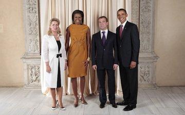 улыбка, политика, президент, медведев, обама, синий галстук