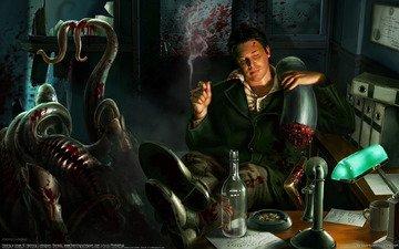 рисунок, кровь, монстр, офис, сигара