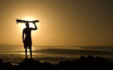 the evening, the sun, guy, the ocean, surfing, riding, fun