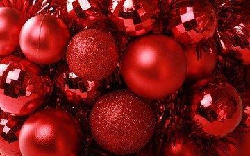 красный, шарики, мишура