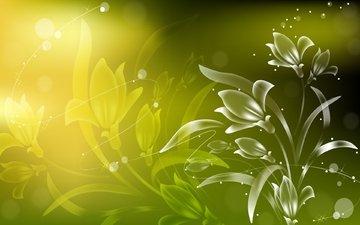 цветы, солнце, лето, лепестки, искры