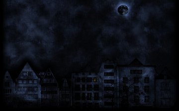 мрак, луна, улица