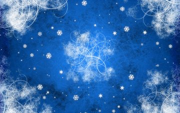 новый год, снежинки, синий, узоры, завитки