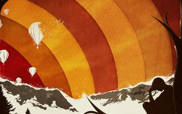 горы, дерево, шары, вектор, парень, воздушные
