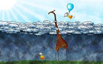 облака, солнце, дети, шар, дождь, жираф, владстудио