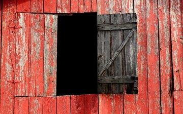red, board, window, the barn