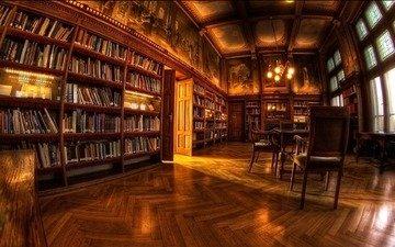 обои, комната, библиотека