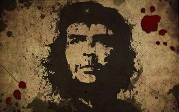 портрет, кровь, свобода, че гевара, эрнесто че гевара, команданте, латиноамериканский революционер