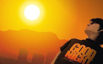 солнце, вектор, надпись, футболка
