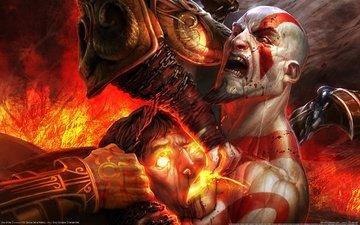 game wallpaper, краcный, кроваво, god of war 3, demon, кратос