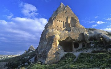 небо, скала, гора, руины, дома, здание, турция, памятник, монастырь, каппадокия, дом в скале