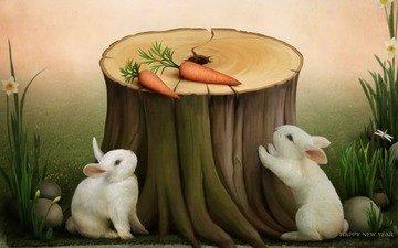 кролик, праздник, пенек, открытка, поздравления, символ года, морковка, с новым годом