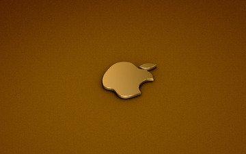 логотип, золото, компьютер, aplle