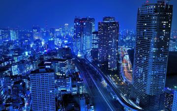ночь, япония, здания, японии