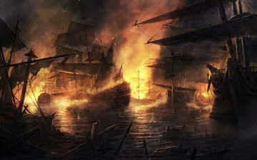 ships, fire, battle