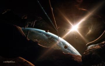 свет, звезды, фантастика, свечение, вспышка, планеты, астероиды, космическое, пространство