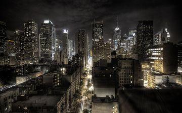 огни, вечер, обои, города, город, манхеттен, нью - йорк, небоскрёбы