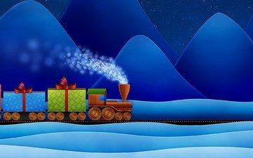 новый год, подарки, сугробы, паровоз
