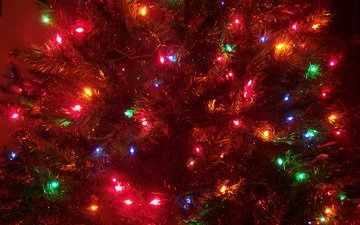 lights, new year, tree, decoration