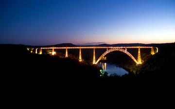 небо, дорога, ночь, огни, вода, река, пейзаж, мост, nature walls, мостики, взляд, рек, ноч, автодорога