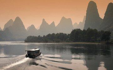 река, горы, закат, катер