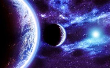 свет, звезды, свечение, планеты, голубая, космическая, fractal space
