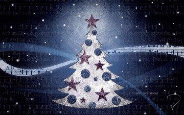 елка, обои, настроение, фон, синий, игрушки, картинка, праздник, рождество, новый, год
