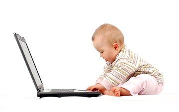дети, лицо, ребенок, ноутбук