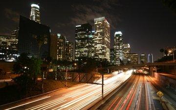 ночь, здания, шоссе