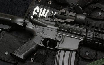weapons, rifle, machine, swat, vest