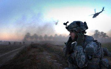 война, солдат, вертолет