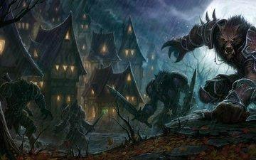 ночь, оружие, фантастика, воины, фэнтези, дома, волки, world-of-warcraft