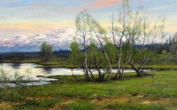 природа, картина, юхан тирен, горы и березы у водоёма