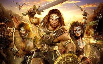 война, драконы, age of conan hyborian adventures, герои