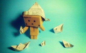 бумага, коробка, кораблики, данбо